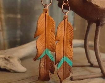 Leather Earrings, Leather Feather Earrings, Feather Earrings, Turquoise Earrings, Earrings