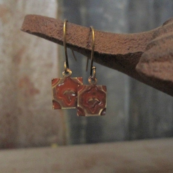 Stamped Metal Earrings, Brass Earrings, Square Earrings, Embossed Earrings, Earrings