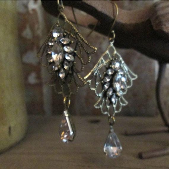 Metal Earrings, Crystal and Brass Chandlier Earrings, Western Earrings, Earrings