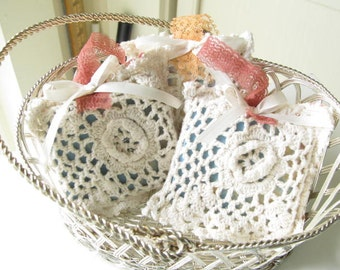 Small Thank You Gift, Wedding or Party Favor, Vintage Doily Sachet, Drawer Scent with Goats Milk soap, Soap Bag, Sach22