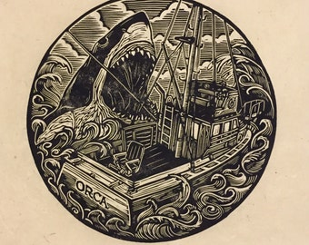 Jaws Linocut Print