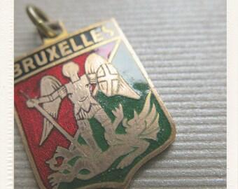 Antique enameled Archangel Saint Michael fighting against dragon French Religious Medal - Bruxelles Rare St Michel Patron