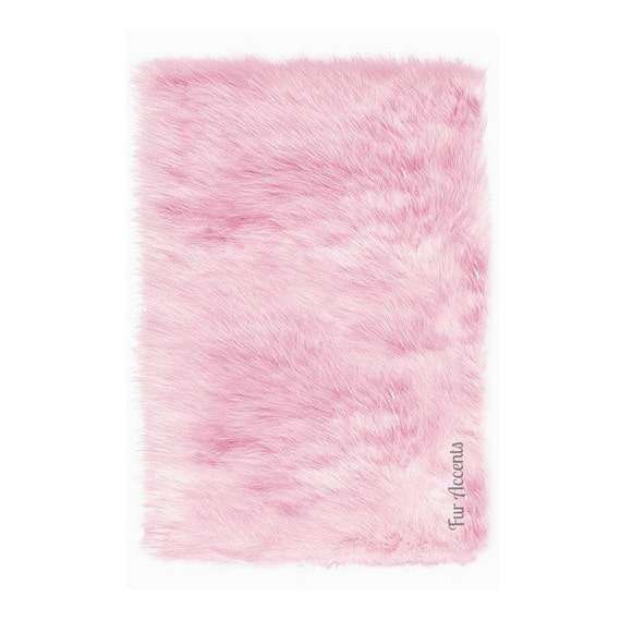 Sale Soft Faux Fur Area Rug Pink Shaggy Shag Fake By