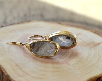 Druzy Geode Slice Earrings- Druzy Earrings- Geode Earrings