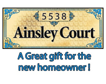 Address Sign, Personalized With Your Address, 15 x 6 inches mounted ready to hang and printed on canvas. Plus FREE SHIPPING