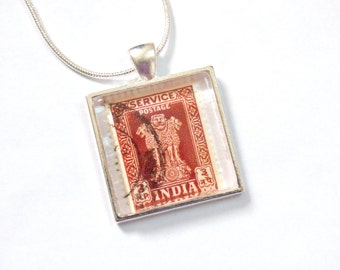 OOAK India Postage Stamp Glass Tile Pendant Necklace Indian Recycled Material Repurposed Postal Mail Brown Mumbai Upcycled Paper Jewelry
