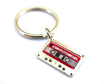 Funny Mixed Love Tape Key Chain Fab Split Ring Retro Cassette Music Metal Vintage Humorous Anniversary Valentine's Gift for Couples Him Her