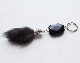 Dark Fur Ball Keychain // Cute Keychain // Black Onyx Bead