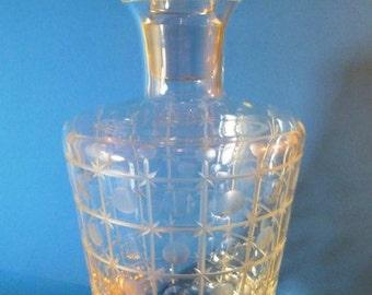 Vintage Crystal Liquor Decanter Cut Crystal Acid Marked AT