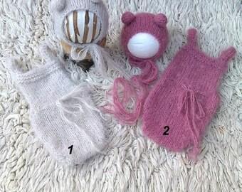 NEW!!! Newborn soft knit set, Newborn bear set, Photo prop, Dungarees, Bear hat, Ready to ship