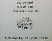 anti-capitalist love notes postcard