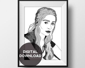 Daenerys Targaryen- Game of Thrones - Illustration with Name - Art - Digital Download