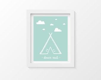 Affiche A4 - Poster décoration enfant tipi nuage bleu