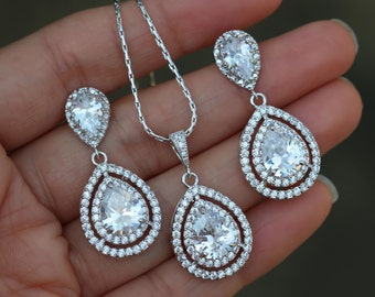 Zirconia necklace and earring set bridal jewelry set wedding jewelry set bridesmaid set