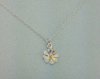 Daisy Necklace - Delicate Sterling Silver flower necklace.  Teeny tiny Sterling Daisy necklace. Makes a perfect gift for someone special.
