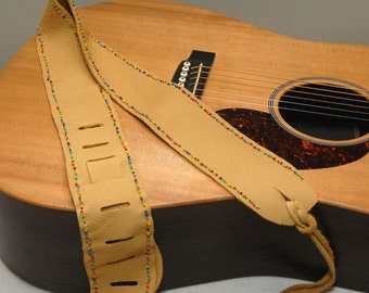 Leather Guitar Strap - beaded guitar strap