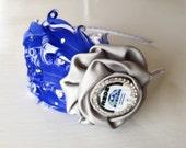 R2D2 Headband - Adult Headband - Blue White and Silver Headband - Geek Headband - Cosplay - Women Accessory - Fancy Headband - Feather Bows