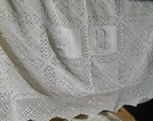 Victorian French Bedspread White Hand Crochet Lace Bed Cover Monogram Cotton Handmade