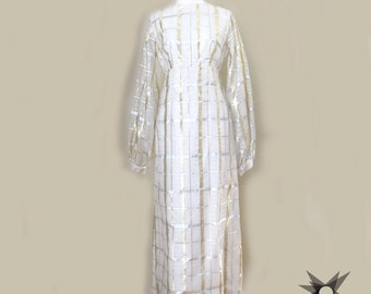 Vintage 1960's Ivory Sheer Empire Waist Maxi Dress With Gold and Silver Metallic Plaid Print Detail Size Medium