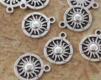 10 Sun Charms Sun Pendants Tibetan Antiqued Silver Tone charms 17 mm