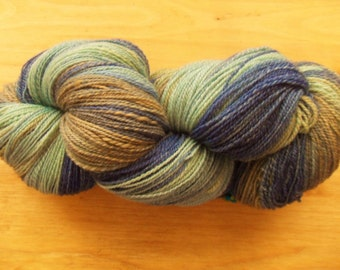 """Hand Dyed, Hand Spun Lace Weight Yarn- """"Tide Pool"""" 530 yards"""