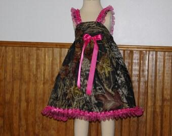 Camouflage girls dress - flower girl camo dress with pink ruffles - Girls camo wedding dress -Girls dress Size 2T, 3T, 4T, 5, 6, 7, 8