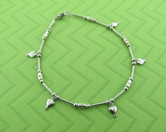 stainless steel heart anklet. avail in 9.5 and 10.5 inches