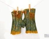 Moss green fingerless gloves with golden accents, Felted armwarmers, Green wristwarmers, Wool cuffs, Fingerless mittens