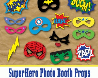SuperHero Photo Booth Props and Decorations - Printable Props and Decorations - Over 45 Images - Digital Download- INSTaNT DOWNLoAD