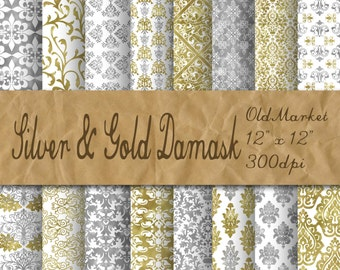 Silver and Gold Damask Digital Paper - Silver and Gold Decorative Backgrounds - 16 Designs - 12x12in - Commercial Use - INSTANT DOWNLOAD