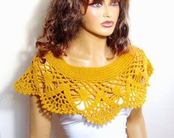 Handknit Mustard Yellow  Shrug Bolero Shawl Wrap Capelet Bride  Bridesmaid Capelet  Wedding Accessories