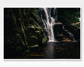 Waterfall Photo Print, Waterfall Photography, Nature Wall Art, Mysterious Landscape Decor, Karkonosze, Wodospad Kamienczycka, Poland