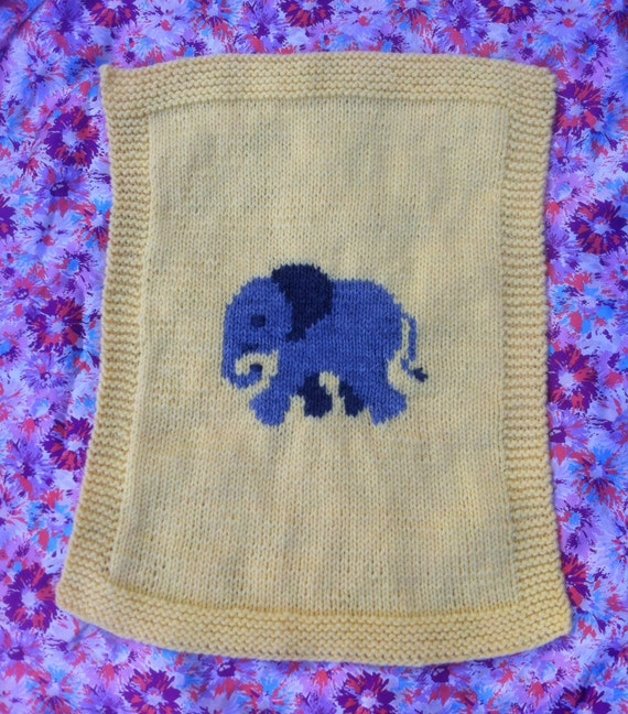Elephant baby blanket/pram cover knitting pattern, yellow ...
