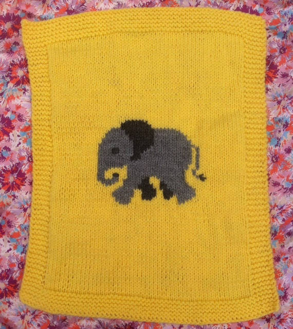 Elephant baby blanket/pram cover knitting pattern, yellow and grey. from Bern...