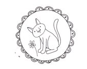 Cat Embroidery Pattern Kitty Digital Downloadable PDF Hand Embroidery 0108