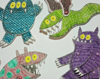 Monsters Animal Paper Dolls Puppets Patterns, Articulated Mechanical Animals, Printable Animal Digital Downloadable 0094