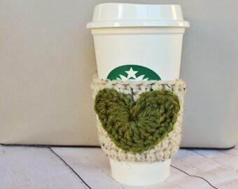 Moss + Oatmeal Heart Coffee Cozy ~ Crochet Coffee Cozy ~ Coffee Cozie ~ Reusable Cup Sleeve