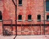 Toronto Love - Wall Decor - Fine Art Photography Print - Red, Brick, Rustic, Bicycles, Iron Rack, Distillery District