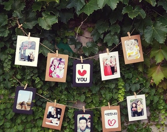 Picture Garland, garland banner, paper garland, smartphone picture garland, Garland photo frame, banner picture frame, photo display