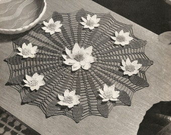 PDF Crochet Pattern Water Lily Table Centre Large Doily 1950's Mercer Crochet Cotton Instant Download