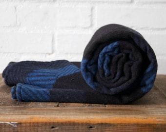 Blue and Black Wool Blanket