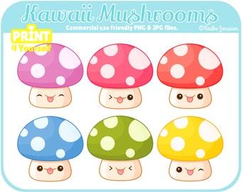 Instant Download Kawaii Mushrooms Clipart // Kawaii Clipart // Mushroom Clipart // Woodland Clipart // Cute Clipart // Cute Mushrooms