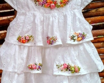 Embroidered dress for baby girl, ecofibre, silkribbonembroidery, white dress, embroidered dress