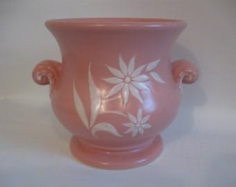 Abington Pink Vase/Jardiniere - Scroll Handled with White Flowers