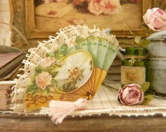 Miniature Victorian green fan, Pink roses, 19th century, French boudoir, Decorative accessory for a French miniature house in 1:12th scale