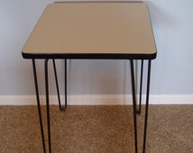 All Original Mid-Century Modern End Table, Hair Pin Legs, Formica Top