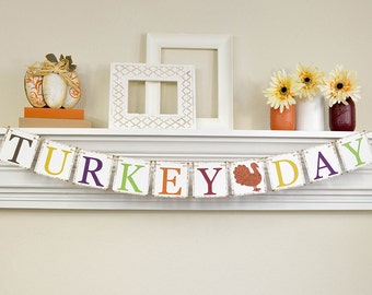 Thanksgiving Decoration, Turkey Day, Happy Thanksgiving Banner, Gobble Gobble, Thanksgiving Decor, Turkey Dinner, Fall Banner, Glitter Brown