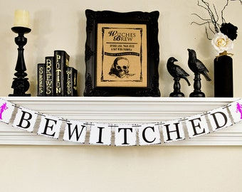 Halloween Banner, Bewitched Banner, Happy Halloween Banner, Witch Banner, Halloween Witch, Bewitched Halloween Banner