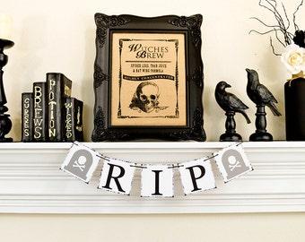 Happy Halloween Banner, Halloween Decor, Rip Halloween Decoration, Trick or Treat Banner, Halloween Banner, Cross Bones Tombstone