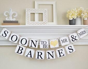 Engagement parti Decor, bientôt la bannière, bannière fête de fiançailles, idées fête de fiançailles, Bridal Shower décorations, paillettes d'or, B202